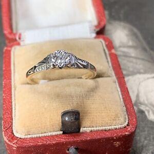 Art Deco 9ct Gold & Platinum Mine Cut Diamond Ring Engagement Solitaire Size O.5