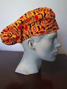 Women's Scrub Bouffant Hat Washable Reusable Handmade Halloween Moustache Fangs