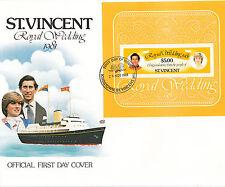 (74274) St Vincent FDC Princess Diana Royal Wedding Minisheet 26 November 1981