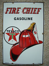 Vintage Original 1963 Texaco Fire Chief Gasoline Pump Plate Porcelain Sign