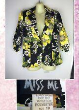 Miss Me Sz 10 Black Green Yellow Floral Cruise Resort Casual Blazer Jacket