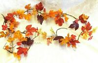 Fall Maple Leaf Garland Autumn Leaves Silk Fake Hanging Vines Orange Brown Faux