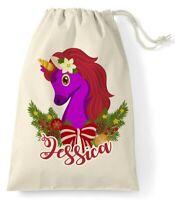 Unicorn Santa Sack Christmas Reindeer Xmas Bag Stocking Personalised Name