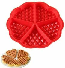 Silicone Waffle Pan Cake Baking Chocolate Baked Waffle Maker Mold Mould Tray Red