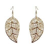 6cm large gold tone cutout leaf dangle earrings, 50s 60s 70s retro