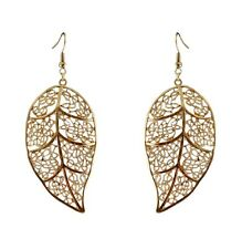6cm large gold tone cutout leaf dangle earrings, 50s 60s 70s retro