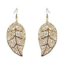 6cm grande color oro tagliato foglia orecchini con pendenti, 50s 60s 70s rétro