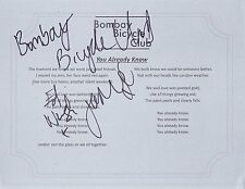 BOMBAY BICYCLE CLUB GROUP SIGNED YOU ALREADY KNOW  LYRIC SHEET