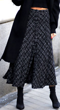 ❗️ ZARA  LONG BLACK PRINTED KNITTED MIDI MAXI SKIRT WITH BUTTON SIZE S NEW