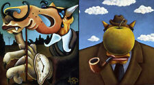 """Markus Pierson """"Art History Coyote Portraits of Magritte and Dali"""" 2 On Canvas"""