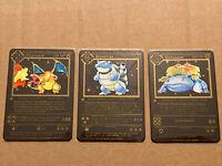 Metal Pokemon Card Charizard, Blastoise, Venusaur. BLACK Shadowless 1st ed (set)