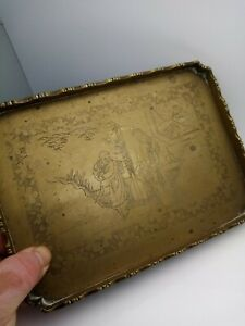 c. 19th Chinese brass square tray