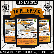 180 Tablets High Purity Turmeric 1000mg With Curcumin BioPerine Black Pepper