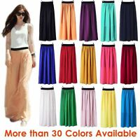 Women Maxi Skirt Double Layer Chiffon Pleated Retro Long Dress Elastic Waist