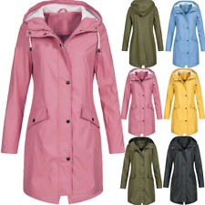 Womens Waterproof Raincoat Ladies Outdoor Wind Rain Forest Jacket Coat Plus Size