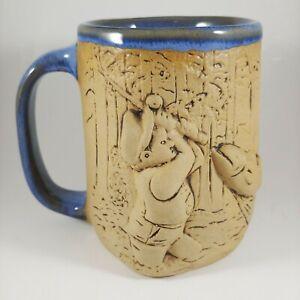 NA Eastman HANDMADE Pottery 3D Fishing Mug - 24oz Large Handle Oversized Cup