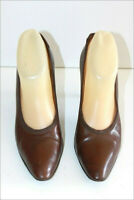 BALLY Escarpins Vintage Tout Cuir Marron Havane T 38.5 BE