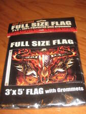 HOT LEATHERS 3x5 ft Flag - TRIBAL CATTLE SKULL,Flames,Barbed Wire