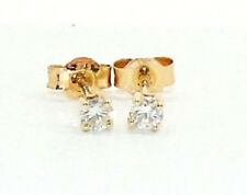 9CT HALLMARKED YELLOW GOLD 0.20CTS G/H SI1 DIAMOND SOLITAIRE STUD EARRINGS