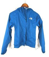 The North Face Women's Full Zip Rain Jacket Windbreaker Blue White Hooded XS
