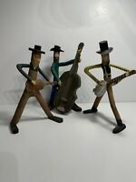 3 Vintage American Folk Art Musician Twig Carvings Signed Paul Taylor & E.G.B.