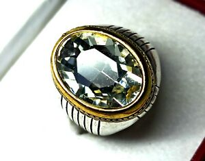 66.00 Cts Sterling Silver Charming White Oval Zircon Men's Ring Size 4 US R-10