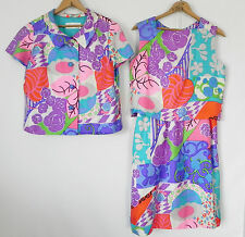 Vtg B.H. Wragge Bonwit Teller  3 Pc Skirt Suit  S/M Multicolor Silk  Knee Length