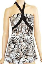 VALLEYGIRL SZ L (12-14) WOMENS White Black Safari Print Open Back Halter Tie Top
