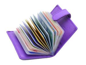 New Ladies Credit Card Holder Genuine Soft Leather Card Case Wallet 210-Purple