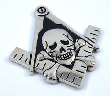 "Mason Masonic auto emblem with skull Chrome black 3"" Metal car 3D decal MAS17"