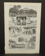 Harper's Weekly Single Page On the Caribbean Sea c1890s A6#72