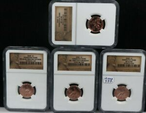 2009 1C FORMATIVE YEARS PENNY NGC BU LINCOLN FIRST DAY Ceremony / MS66RD 4 SET