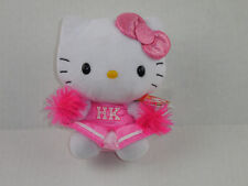 TY Hello Kitty Beanie Baby in Pink HK Cheerleader Costume Pom Poms & Pink Bow
