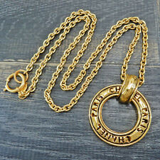 CHANEL Gold Plated CC Ring Charm Vintage Chain Necklace Pendant #5856a Rise-on