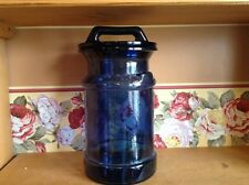 Large  heavy deep cobalt blue glass milk can Country style cannister