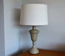 French Grey Table Lamp With Cream Shade
