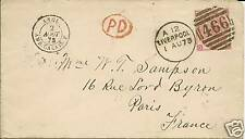 GB COVER 1873 LIVERPOOL TO PARIS. SG 103 PLATE10 SCARCE