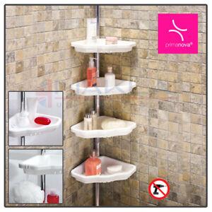 4 TIER White TELESCOPIC Adjustable Bathroom CORNER SHOWER Shelf Rack Organiser
