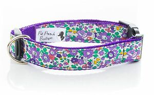 Liberty Fabric Blue Betsy Ann Floral Handmade Dog Collar OR Lead Choice of sizes