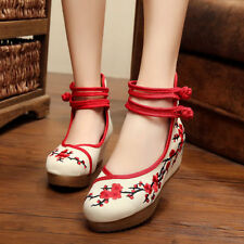 Womens Folk Chinese Embroidered Flower Ballerina Ballet Pump Flat Single Shoes