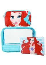 Disney The Little Mermaid Ariel 3 Piece Makeup Cosmetic Bag Set Gift NWT!