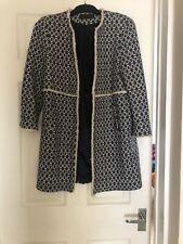 Zara Coat Jacket Size M Blue Cream Tweed Boucle Chanel Style