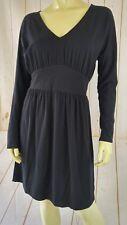 Lilla P Dress M Black Thin Pima Modal Spandex Stretch Knit Long Sleeves Peru