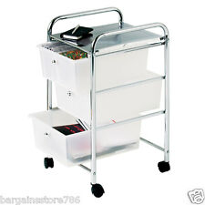 3 Drawer Chrome Finish Office Salon Bathroom Storage Hair Dresser Trolley White