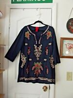 V Cristina Embroidered Tunic Blouse Top Navy Blue Size LARGE Boho Floral w/ties