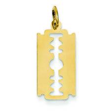 14K Yellow Gold Razor Blade Charm Pendant MSRP $143