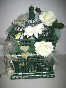 URNE TIRELIRE CAGE MARIAGE METAL VERT PIECE UNIQUE DECOREE 48x28x22cm NEUVE
