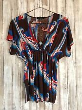 Anthropologie T-BAGS Los Angeles Brown Blue Red Floral Print V Neck Top XS *