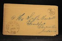 Indiana: Rochester 1850s Stampless Cover, Black CDS, UNLISTED Circled PAID 3
