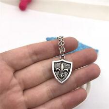 Fleur De Lis Shield Necklace Charms Jewelry Tibet silver Pendant Chain Necklace